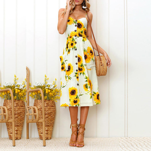 Sunflower Pineapple Pattern Print Halter Backless Dress - Shop Shiningbabe - Womens Fashion Online Shopping Offering Huge Discounts on Shoes - Heels, Sandals, Boots, Slippers; Clothing - Tops, Dresses, Jumpsuits, and More.