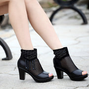 Pointed Mesh Hot Drilling High Heels - Shop Shiningbabe - Womens Fashion Online Shopping Offering Huge Discounts on Shoes - Heels, Sandals, Boots, Slippers; Clothing - Tops, Dresses, Jumpsuits, and More.