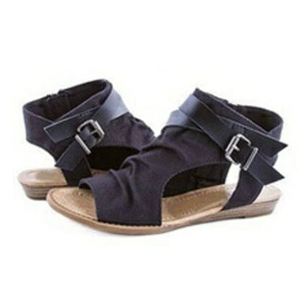 Retro Vintage Roman Zipper Flat Sandals - Shop Shiningbabe - Womens Fashion Online Shopping Offering Huge Discounts on Shoes - Heels, Sandals, Boots, Slippers; Clothing - Tops, Dresses, Jumpsuits, and More.