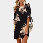 Round Neck Sleeve Printed Lace Dress - Shop Shiningbabe - Womens Fashion Online Shopping Offering Huge Discounts on Shoes - Heels, Sandals, Boots, Slippers; Clothing - Tops, Dresses, Jumpsuits, and More.