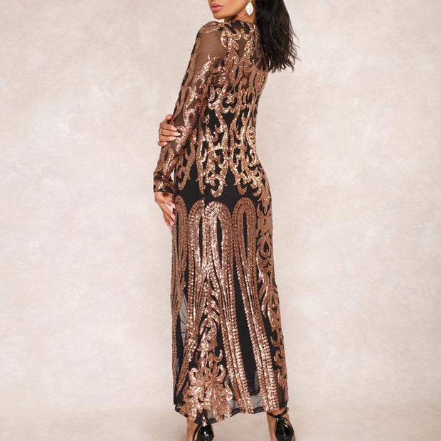 Sequins Long Sleeve Sheer Mesh Longline Coat