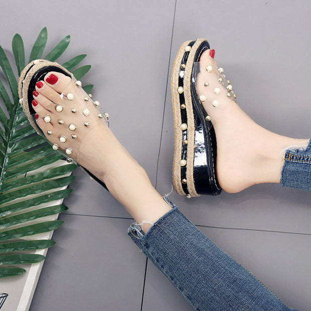 Pearl Transparent Wedge Sandals - Shop Shiningbabe - Womens Fashion Online Shopping Offering Huge Discounts on Shoes - Heels, Sandals, Boots, Slippers; Clothing - Tops, Dresses, Jumpsuits, and More.