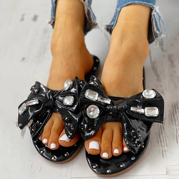 Studded Bowknot Design Casual Slipper Sandals - Shop Shiningbabe - Womens Fashion Online Shopping Offering Huge Discounts on Shoes - Heels, Sandals, Boots, Slippers; Clothing - Tops, Dresses, Jumpsuits, and More.