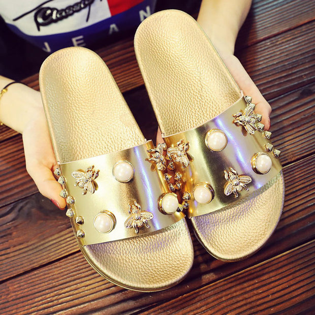 Women's Fashion Glossy Pearl Slippers - Shop Shiningbabe - Womens Fashion Online Shopping Offering Huge Discounts on Shoes - Heels, Sandals, Boots, Slippers; Clothing - Tops, Dresses, Jumpsuits, and More.