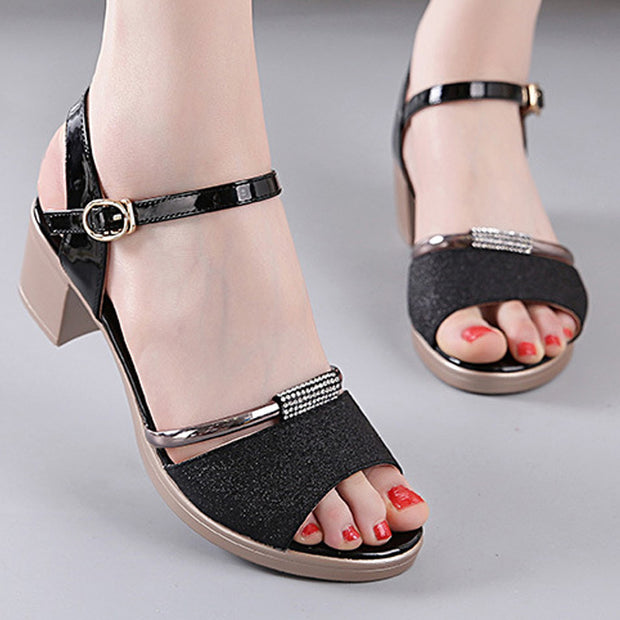 Mid-Heeled Buckled Open Toe Flats - Shop Shiningbabe - Womens Fashion Online Shopping Offering Huge Discounts on Shoes - Heels, Sandals, Boots, Slippers; Clothing - Tops, Dresses, Jumpsuits, and More.