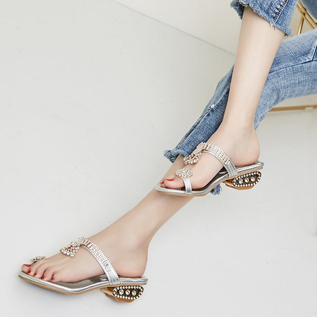 Rhinestone Toe Ring Flat Sandals - Shop Shiningbabe - Womens Fashion Online Shopping Offering Huge Discounts on Shoes - Heels, Sandals, Boots, Slippers; Clothing - Tops, Dresses, Jumpsuits, and More.