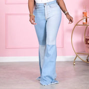 Colorblock Pockets Bell-Bottom Denim Pants