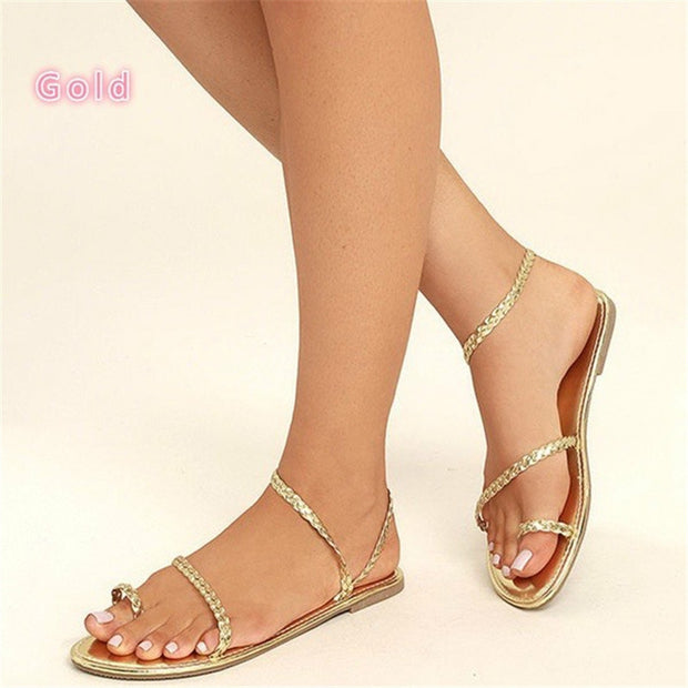 Woven Strap Flat Beach Sandals - Shop Shiningbabe - Womens Fashion Online Shopping Offering Huge Discounts on Shoes - Heels, Sandals, Boots, Slippers; Clothing - Tops, Dresses, Jumpsuits, and More.