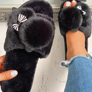Fluffy Pom Pom Bowknot Embellished Open Toe Flat Slippers - Shop Shiningbabe - Womens Fashion Online Shopping Offering Huge Discounts on Shoes - Heels, Sandals, Boots, Slippers; Clothing - Tops, Dresses, Jumpsuits, and More.