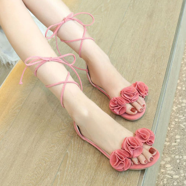 Lace Up Flower Decoration Flat Sandals - Shop Shiningbabe - Womens Fashion Online Shopping Offering Huge Discounts on Shoes - Heels, Sandals, Boots, Slippers; Clothing - Tops, Dresses, Jumpsuits, and More.