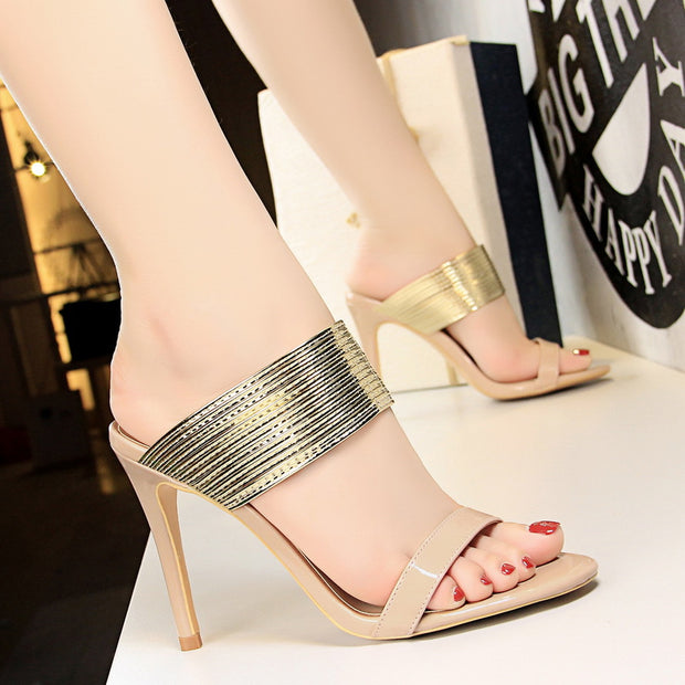 Vintage Sexy Open Toe Metal Slippers - Shop Shiningbabe - Womens Fashion Online Shopping Offering Huge Discounts on Shoes - Heels, Sandals, Boots, Slippers; Clothing - Tops, Dresses, Jumpsuits, and More.