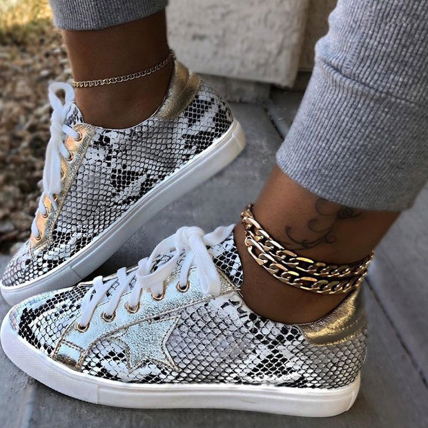 Snakeskin Star Design Lace-Up Sneakers - Shop Shiningbabe - Womens Fashion Online Shopping Offering Huge Discounts on Shoes - Heels, Sandals, Boots, Slippers; Clothing - Tops, Dresses, Jumpsuits, and More.