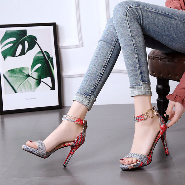 Buckled Color-block Woven High Heel Sandals - Shop Shiningbabe - Womens Fashion Online Shopping Offering Huge Discounts on Shoes - Heels, Sandals, Boots, Slippers; Clothing - Tops, Dresses, Jumpsuits, and More.