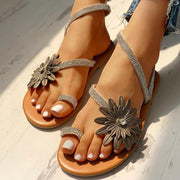 Flower Studded Detail Toe Ring Sandals - Shop Shiningbabe - Womens Fashion Online Shopping Offering Huge Discounts on Shoes - Heels, Sandals, Boots, Slippers; Clothing - Tops, Dresses, Jumpsuits, and More.