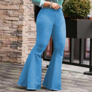 High Waist Vintage Solid Denim Bell Bottom Jeans