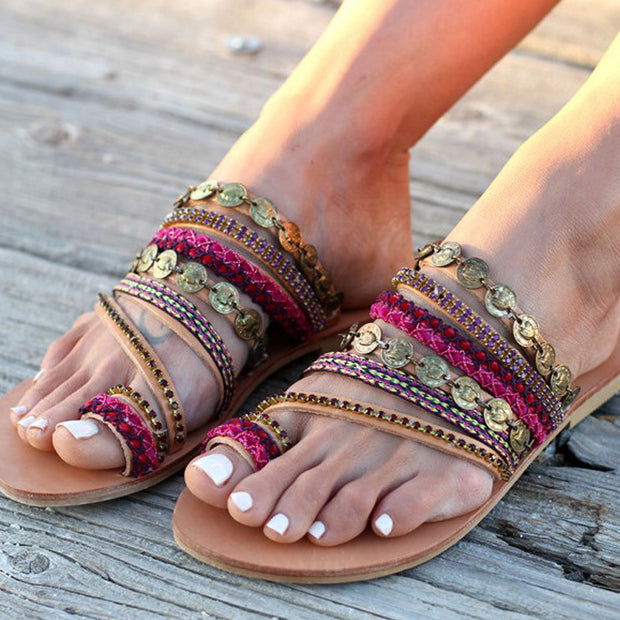 Bohemian Style Metal-decorated Flat Sandals - Shop Shiningbabe - Womens Fashion Online Shopping Offering Huge Discounts on Shoes - Heels, Sandals, Boots, Slippers; Clothing - Tops, Dresses, Jumpsuits, and More.