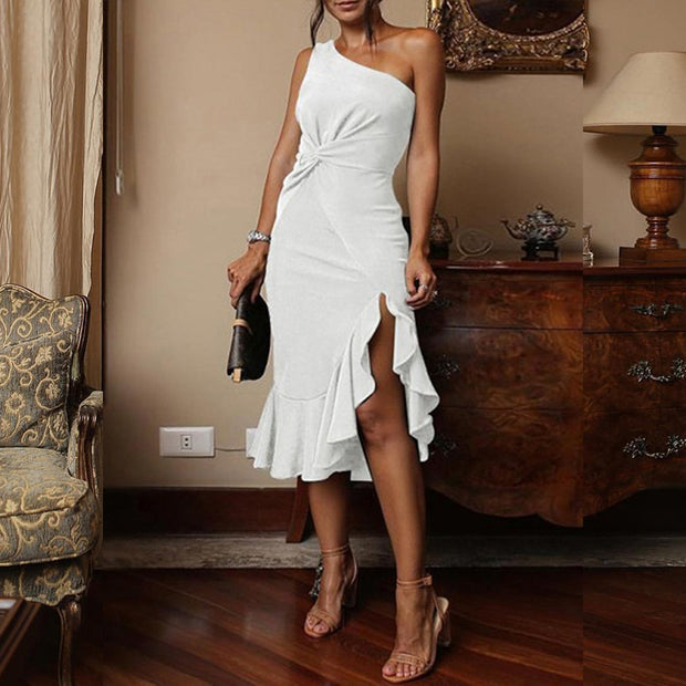 One Shoulder Scrunch Irregular Ruffles Hem Dress - Shop Shiningbabe - Womens Fashion Online Shopping Offering Huge Discounts on Shoes - Heels, Sandals, Boots, Slippers; Clothing - Tops, Dresses, Jumpsuits, and More.