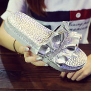 Women's Fashion Ruffled Rhinestone Slippers - Shop Shiningbabe - Womens Fashion Online Shopping Offering Huge Discounts on Shoes - Heels, Sandals, Boots, Slippers; Clothing - Tops, Dresses, Jumpsuits, and More.