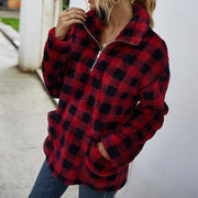 Solid Pocket Turndown Collar Fluffy Sweatshirt