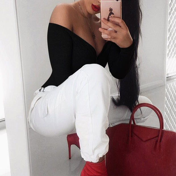 V-neck Long-sleeved Button Jumpsuit - Shop Shiningbabe - Womens Fashion Online Shopping Offering Huge Discounts on Shoes - Heels, Sandals, Boots, Slippers; Clothing - Tops, Dresses, Jumpsuits, and More.