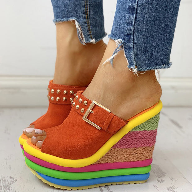 Rivet Colorblock Espadrille Wedge Sandals - Shop Shiningbabe - Womens Fashion Online Shopping Offering Huge Discounts on Shoes - Heels, Sandals, Boots, Slippers; Clothing - Tops, Dresses, Jumpsuits, and More.