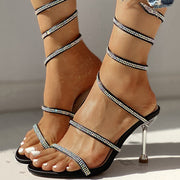 Glitter Studded Multi-strap Thin Heeled Sandals - Shop Shiningbabe - Womens Fashion Online Shopping Offering Huge Discounts on Shoes - Heels, Sandals, Boots, Slippers; Clothing - Tops, Dresses, Jumpsuits, and More.