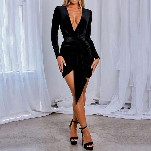 Solid Velvet Tight Waist Dress - Shop Shiningbabe - Womens Fashion Online Shopping Offering Huge Discounts on Shoes - Heels, Sandals, Boots, Slippers; Clothing - Tops, Dresses, Jumpsuits, and More.