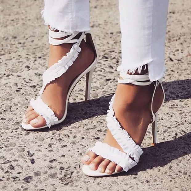 Sexy Ruffled Ankle Strap High Heel Sandals - Shop Shiningbabe - Womens Fashion Online Shopping Offering Huge Discounts on Shoes - Heels, Sandals, Boots, Slippers; Clothing - Tops, Dresses, Jumpsuits, and More.