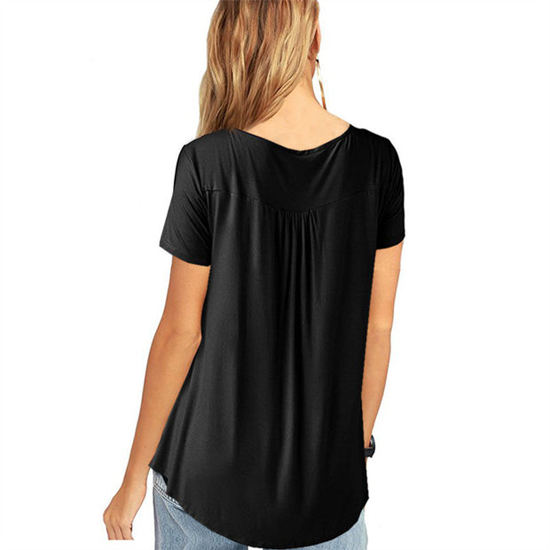 Pleated Open Button Loose Short-sleeved T-shirt - Shop Shiningbabe - Womens Fashion Online Shopping Offering Huge Discounts on Shoes - Heels, Sandals, Boots, Slippers; Clothing - Tops, Dresses, Jumpsuits, and More.