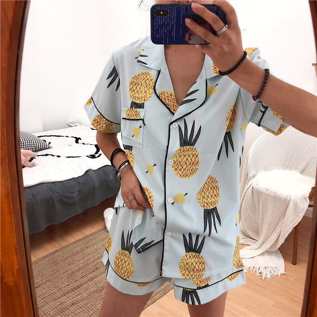 Pineapple Print Flutter Sleeve Casual Suit Set - Shop Shiningbabe - Womens Fashion Online Shopping Offering Huge Discounts on Shoes - Heels, Sandals, Boots, Slippers; Clothing - Tops, Dresses, Jumpsuits, and More.