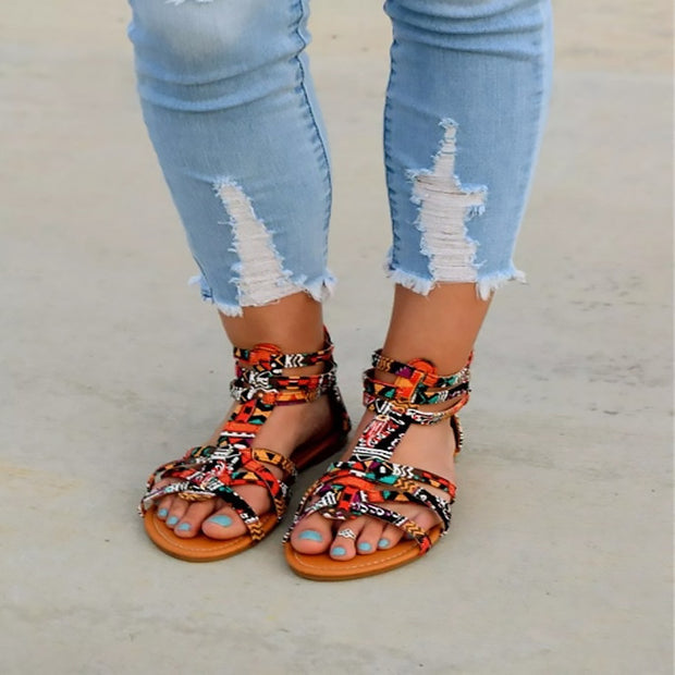 Colorful Lace Roman Flat Sandals - Shop Shiningbabe - Womens Fashion Online Shopping Offering Huge Discounts on Shoes - Heels, Sandals, Boots, Slippers; Clothing - Tops, Dresses, Jumpsuits, and More.