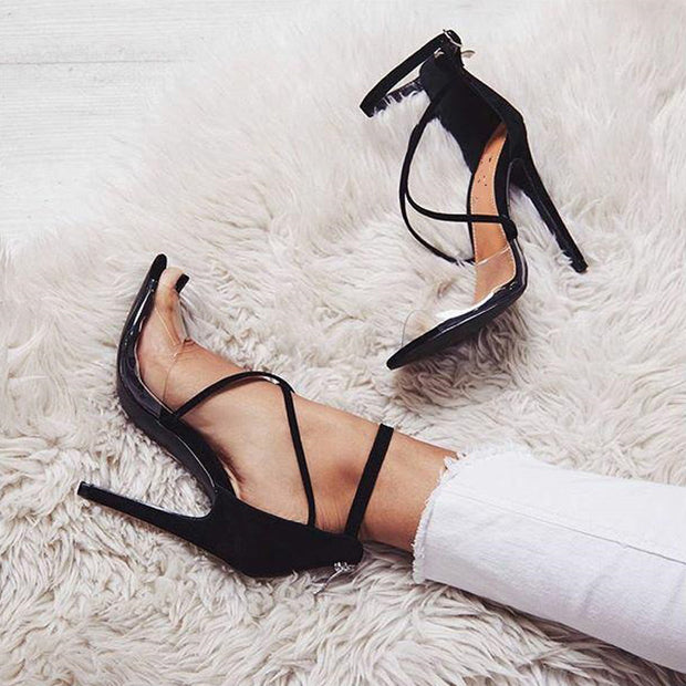 Pointed Cross Transparent Strap High Heels - Shop Shiningbabe - Womens Fashion Online Shopping Offering Huge Discounts on Shoes - Heels, Sandals, Boots, Slippers; Clothing - Tops, Dresses, Jumpsuits, and More.