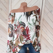 Off Shoulder Printed Lantern Sleeve Shirt - Shop Shiningbabe - Womens Fashion Online Shopping Offering Huge Discounts on Shoes - Heels, Sandals, Boots, Slippers; Clothing - Tops, Dresses, Jumpsuits, and More.
