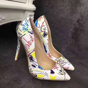 Pointed Shallow Mouth Printed High Heels - Shop Shiningbabe - Womens Fashion Online Shopping Offering Huge Discounts on Shoes - Heels, Sandals, Boots, Slippers; Clothing - Tops, Dresses, Jumpsuits, and More.