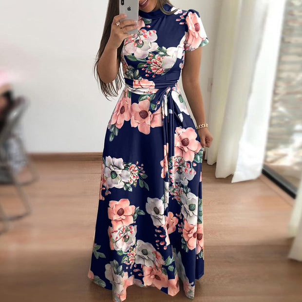 Casual Printed Strap Short Sleeve Dress - Shop Shiningbabe - Womens Fashion Online Shopping Offering Huge Discounts on Shoes - Heels, Sandals, Boots, Slippers; Clothing - Tops, Dresses, Jumpsuits, and More.