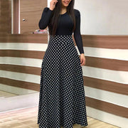 Printed Colorblock Long Sleeve Maxi Dress - Shop Shiningbabe - Womens Fashion Online Shopping Offering Huge Discounts on Shoes - Heels, Sandals, Boots, Slippers; Clothing - Tops, Dresses, Jumpsuits, and More.