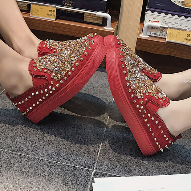 Women's Fashion Studded Couple Thick Base Sneakers - Shop Shiningbabe - Womens Fashion Online Shopping Offering Huge Discounts on Shoes - Heels, Sandals, Boots, Slippers; Clothing - Tops, Dresses, Jumpsuits, and More.