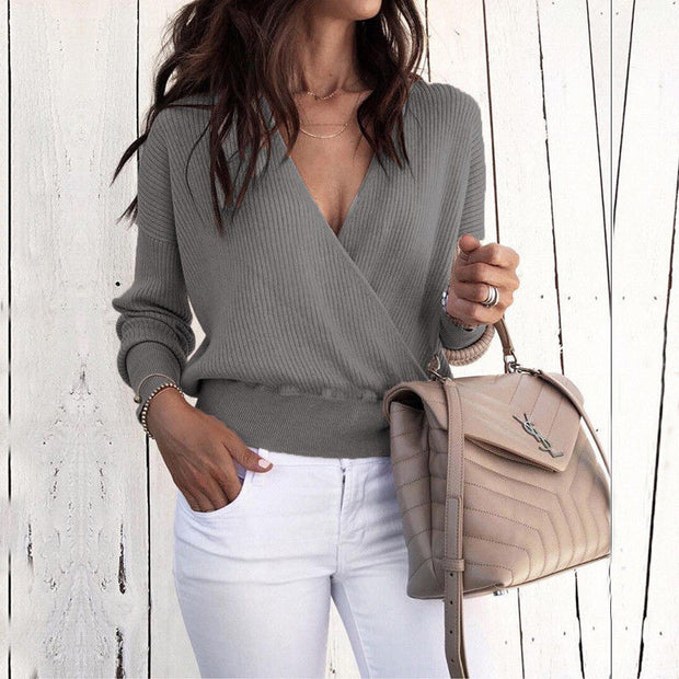Solid V-Neck Long Sleeve Wrap Sweater - Shop Shiningbabe - Womens Fashion Online Shopping Offering Huge Discounts on Shoes - Heels, Sandals, Boots, Slippers; Clothing - Tops, Dresses, Jumpsuits, and More.