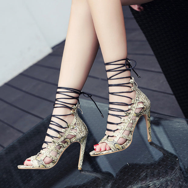 Snake-skin Roman Stiletto High Heel Sandals - Shop Shiningbabe - Womens Fashion Online Shopping Offering Huge Discounts on Shoes - Heels, Sandals, Boots, Slippers; Clothing - Tops, Dresses, Jumpsuits, and More.