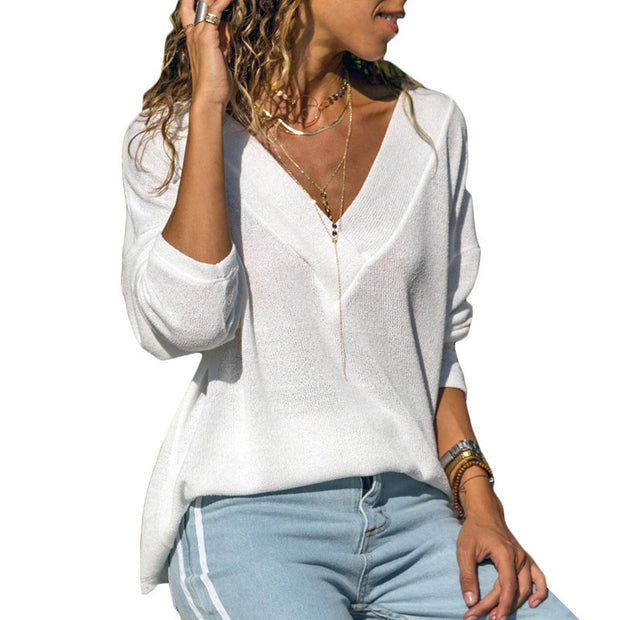 Solid Color V-neck Long-sleeved Knit Top - Shop Shiningbabe - Womens Fashion Online Shopping Offering Huge Discounts on Shoes - Heels, Sandals, Boots, Slippers; Clothing - Tops, Dresses, Jumpsuits, and More.