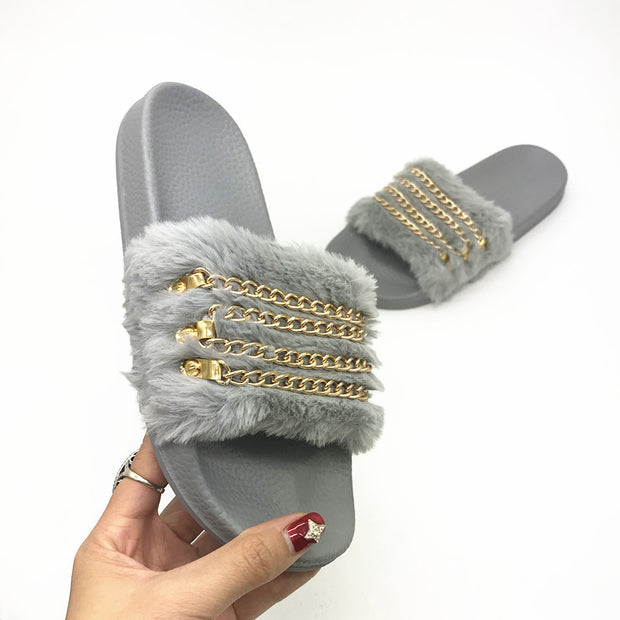 Chain Flash Drilled Non-slip Slippers - Shop Shiningbabe - Womens Fashion Online Shopping Offering Huge Discounts on Shoes - Heels, Sandals, Boots, Slippers; Clothing - Tops, Dresses, Jumpsuits, and More.