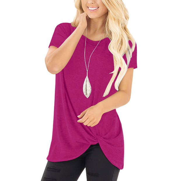 Knotted Round Neck Short-sleeved Top - Shop Shiningbabe - Womens Fashion Online Shopping Offering Huge Discounts on Shoes - Heels, Sandals, Boots, Slippers; Clothing - Tops, Dresses, Jumpsuits, and More.