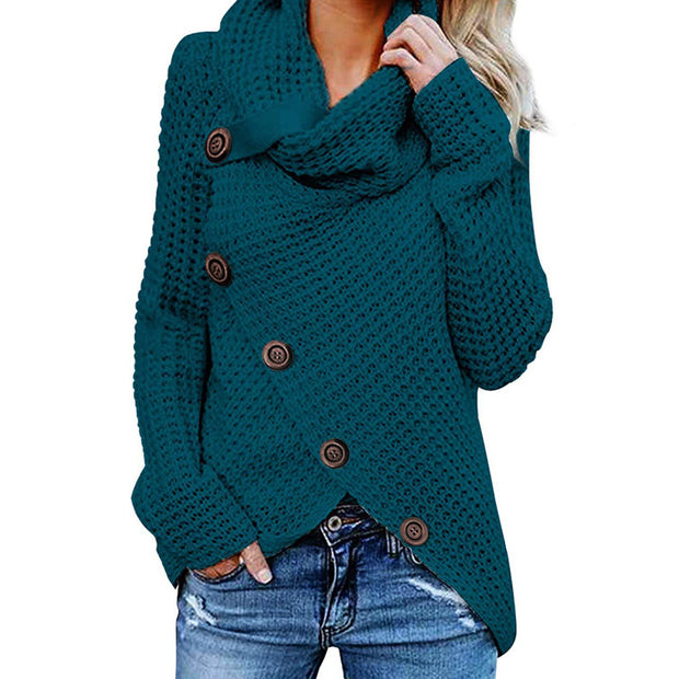 Fashion Buckle High Collar Pullover Sweater - Shop Shiningbabe - Womens Fashion Online Shopping Offering Huge Discounts on Shoes - Heels, Sandals, Boots, Slippers; Clothing - Tops, Dresses, Jumpsuits, and More.