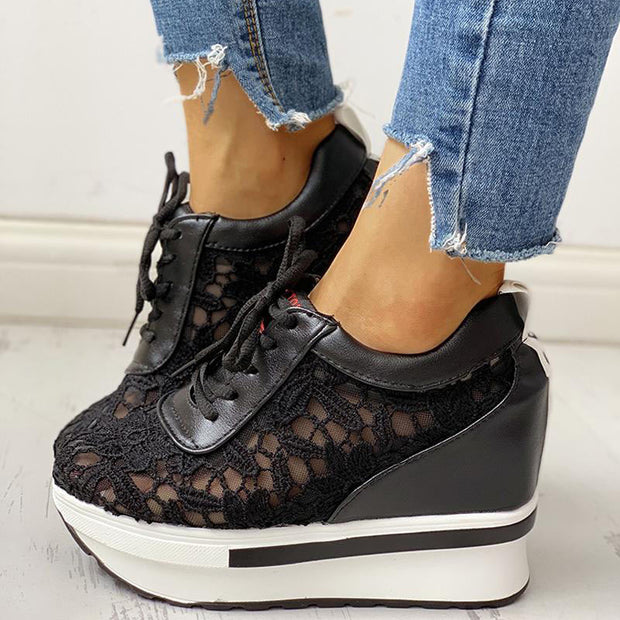Lace Splicing Muffin Casual Sneakers - Shop Shiningbabe - Womens Fashion Online Shopping Offering Huge Discounts on Shoes - Heels, Sandals, Boots, Slippers; Clothing - Tops, Dresses, Jumpsuits, and More.