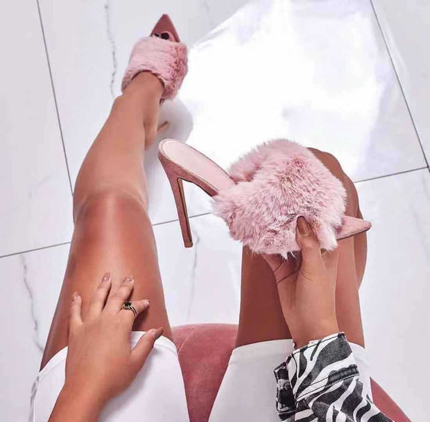 Rabbit Fur Pointed High Heel Sandals - Shop Shiningbabe - Womens Fashion Online Shopping Offering Huge Discounts on Shoes - Heels, Sandals, Boots, Slippers; Clothing - Tops, Dresses, Jumpsuits, and More.