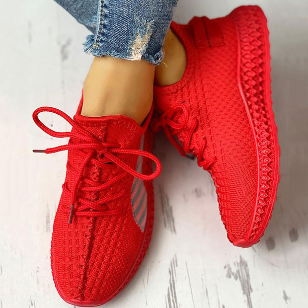 Lace-Up Breathable Casual Sneakers - Shop Shiningbabe - Womens Fashion Online Shopping Offering Huge Discounts on Shoes - Heels, Sandals, Boots, Slippers; Clothing - Tops, Dresses, Jumpsuits, and More.