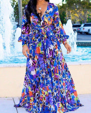 Tropical Print Deep V Belted Warp Maxi Dress - Shop Shiningbabe - Womens Fashion Online Shopping Offering Huge Discounts on Shoes - Heels, Sandals, Boots, Slippers; Clothing - Tops, Dresses, Jumpsuits, and More.