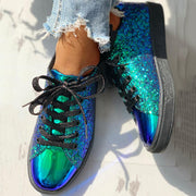 Glitter Sequins Eyelet Lace-up Sneakers - Shop Shiningbabe - Womens Fashion Online Shopping Offering Huge Discounts on Shoes - Heels, Sandals, Boots, Slippers; Clothing - Tops, Dresses, Jumpsuits, and More.