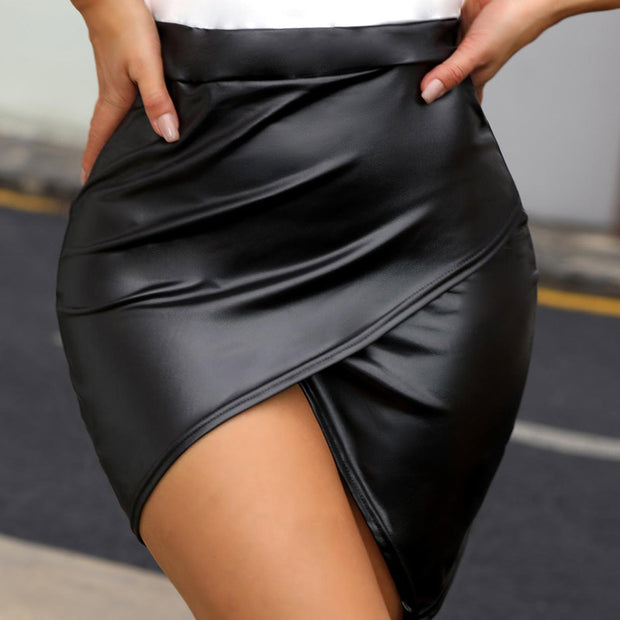High Waist Surplice PU Slinky Skirt - Shop Shiningbabe - Womens Fashion Online Shopping Offering Huge Discounts on Shoes - Heels, Sandals, Boots, Slippers; Clothing - Tops, Dresses, Jumpsuits, and More.