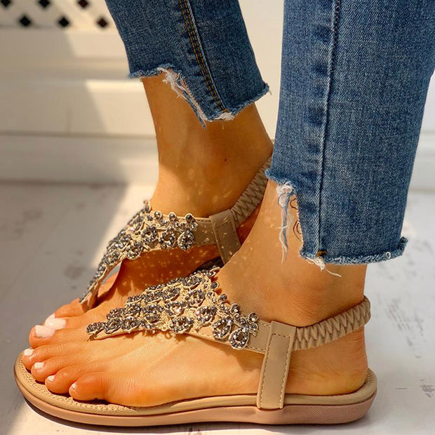 Toe Post Studded Flat Sandals - Shop Shiningbabe - Womens Fashion Online Shopping Offering Huge Discounts on Shoes - Heels, Sandals, Boots, Slippers; Clothing - Tops, Dresses, Jumpsuits, and More.